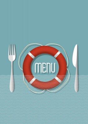 Canvas print Retro Menu design for seafood restaurant - variation 5