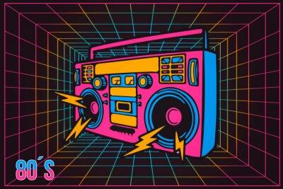 Canvas print Retro Pop Party Eighties 80's Party Recorder, neon cartoon style