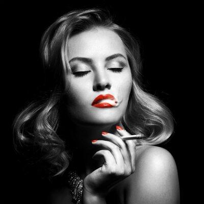 Canvas print Retro Portrait Of Beautiful Woman With Cigarette