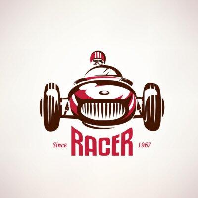 Canvas print retro race car, vintage vector symbol, emblem, label template