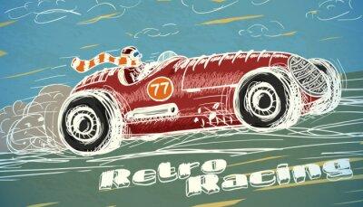 Canvas print Retro racing car poster