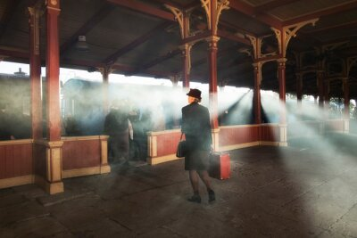 Canvas print retro railway station and smoke of train