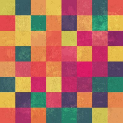 Canvas print Retro squary colorful vintage vector background