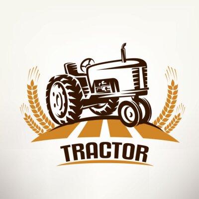 Canvas print retro tractor vector symbol