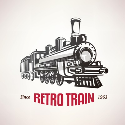 Canvas print retro train, vintage  vector symbol, emblem, label template