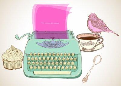 Canvas print retro typewriter background