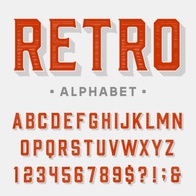 Canvas print Retro vector font. Letters, numbers and symbols. Vintage alphabet for labels, headlines, posters etc.