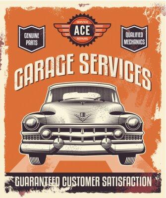 Canvas print Retro vintage sign - Advertising poster - Classic car - garage