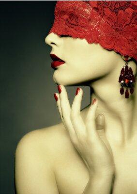 Canvas print Retro woman wih red ribbon