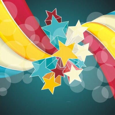 Canvas print Ribbons and stars isolated on white background.