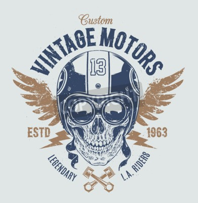 Canvas print Rider skull with retro racer attributes. Grunge print. Vintage style. Vector art.