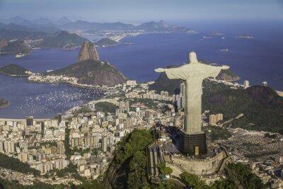 Canvas print Rio de Janeiro, Brazil : Aerial view of Christ and Botafogo Bay