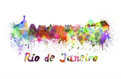 Canvas print Rio de Janeiro skyline in watercolor