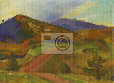 Road in the mountains, landscape, oil painting