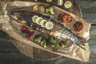 Canvas print Roasted salmon and vegetables