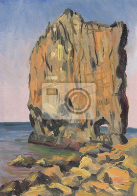 Rock by the sea. Oil painting