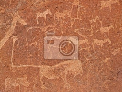 Canvas print rock engravings