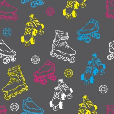 Canvas print roller skate seamless pattern