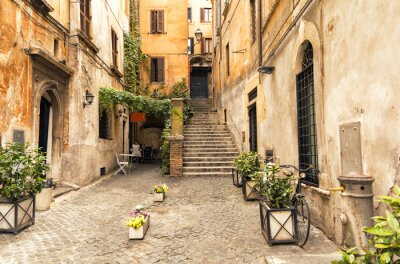 Canvas print romantic alley in old part of Rome, Italy