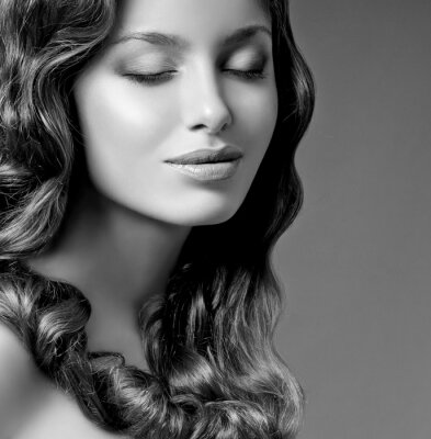 Canvas print romantic brunette with curly hair