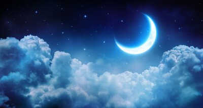 Canvas print Romantic Moon In Starry Night Over Clouds