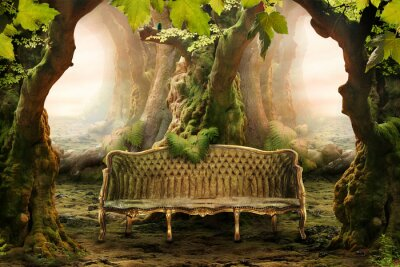 Canvas print romantic seat in a deep forest