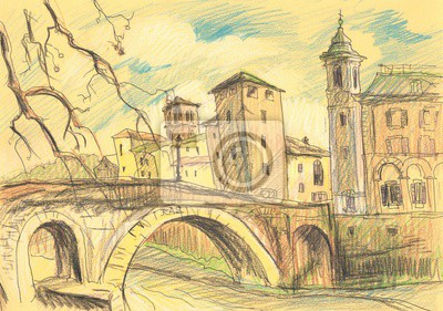 Rome. Drawing with colored pencils