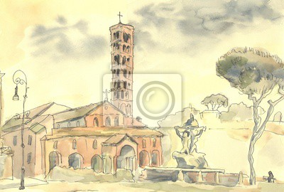 Canvas print Rome. Italian urban landscape. The Mouth Of Truth. Watercolor painting