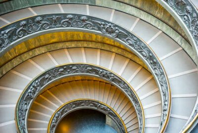 Rome, Italy - March 11, 2014: Vatican Museums, the spiral staircase designed by Giuseppe Momo