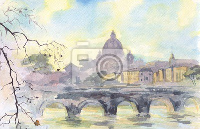 Canvas print Rome. The Vatican. View of the Cathedral of St. Peter. Painting. Watercolor