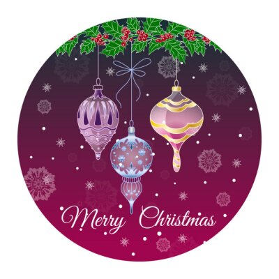 Round sticker merry Christmas with Christmas glass toys and Holly on Burgundy background