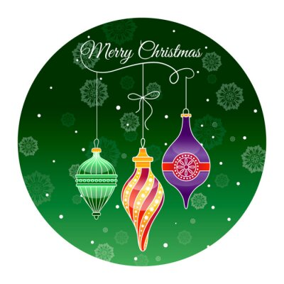 Round sticker merry Christmas with Christmas glass toys on green background