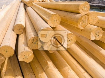 Round wooden logs for construction of a rural house