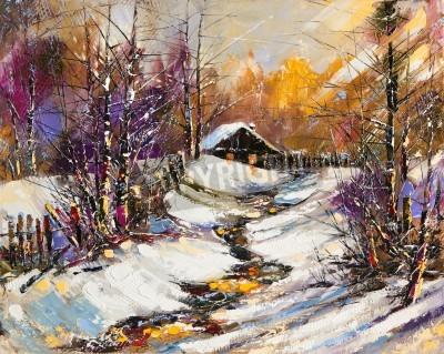 Canvas print Rural winter landscape