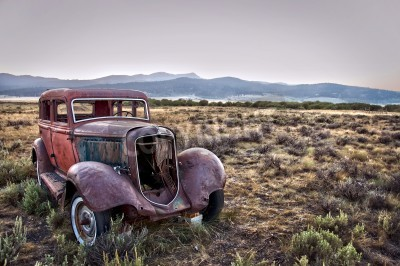 Canvas print Rusty wrecked car, abandoned in nature