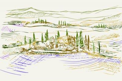 Canvas print Rysynek ręcznie rysowany. Toskański pejzaż z okolic Sieny we Włoszech w Europie
