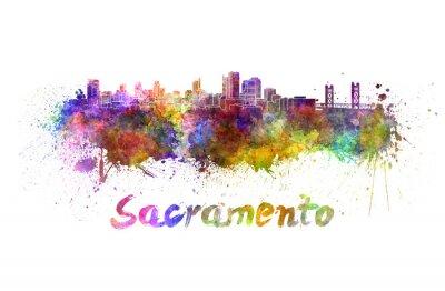 Canvas print Sacramento skyline in watercolor