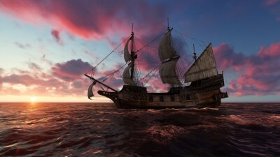Canvas print Sailboat at sea in the evening at sunset 3d illustration