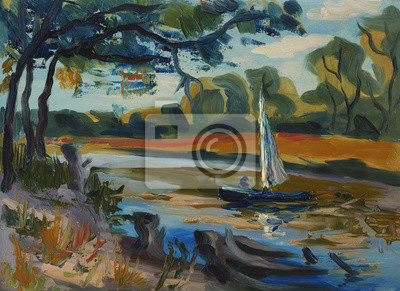 sailboat floats on the river, summer landscape, oil painting, Trees reflected in the water on the  shore
