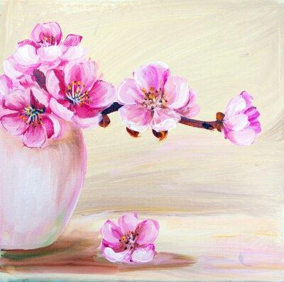 Canvas print Sakura flowers in vase