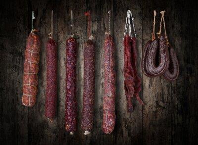 Canvas print salami sausages