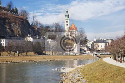 Canvas print Salzach river . Salzburg, Austria