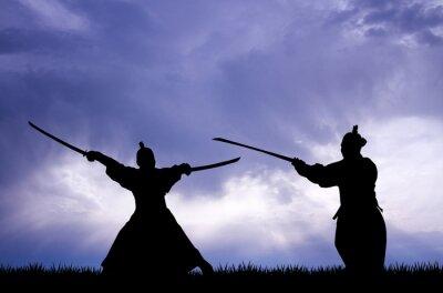 Canvas print Samurai silhouette