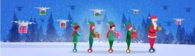santa claus elf helper team ride electric scooter drone delivery service new year merry christmas concept fir tree forest landscape full length profile horizontal banner