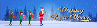 santa claus elf helper team ride electric scooter new year merry christmas concept fir tree forest landscape full length profile horizontal banner