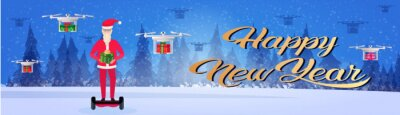 santa claus ride electric scooter drone delivery service new year merry christmas concept fir tree forest landscape full length horizontal banner