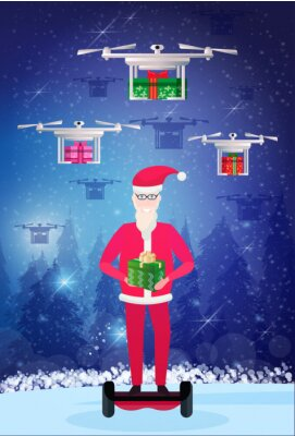 santa claus ride electric scooter drone delivery service new year merry christmas concept fir tree forest landscape full length vertical