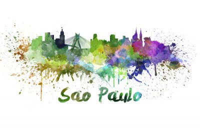 Canvas print Sao Paulo skyline in watercolor