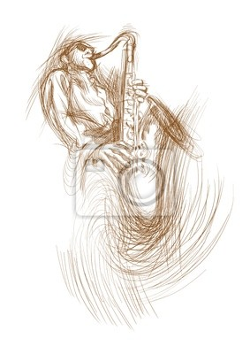 saxophonist - drawing converted to vector