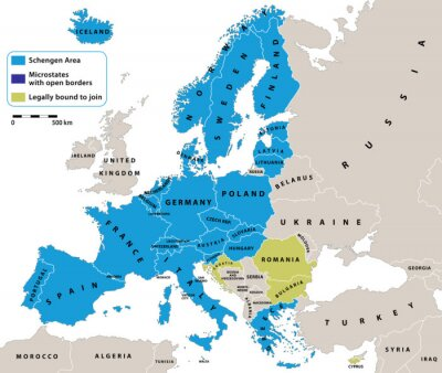 Canvas print Schengen Area on Europe political map. All data are in layers for easy editing vector map. Background for your infographics.